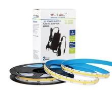 V-TAC Kit striscia LED 24V COB 5M monocolore bianco freddo 6400K IP20 + alimentatore - SKU 2678