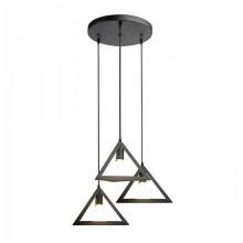 Lampadario pendente V-TAC tripla campana Geometric triangolare 3xE27 1MT Ф250mm Metallo Nero opaco VT-7144 – SKU 3927