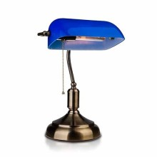 V-TAC VT-7151 Banker bakelite Table Lamp with pull chain control E27 holder blue glass shade - sku 3913