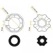 NICE 515.07000 série Adaptateurs ERA M Ottagonal 70x (1 ÷ 1.5) taille Ø 45 mm roue + couronne