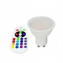 V-TAC SMART VT-2244 spot LED 3.5W GU10 RGB+W blanc chaud 3000K avec télécommande RF - sku 2778