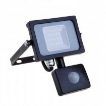 V-TAC PRO VT-10-S faro led 10W ultra slim nero con sensore PIR bianco caldo 300K IP65 - SKU 436