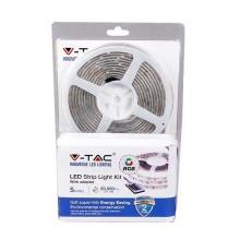 LED-Streifen-Set V-TAC smd5050 rgb wasserdicht IP20 + IR-Fernbedienung LED + Netzteil - SKU 2353