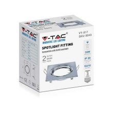 V-TAC VT-817 Plafond carré en métal nickel satiné réglable pour spotlights LED GU10-GU5.3 box 2pcs/pack - sku 8943