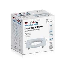 V-TAC VT-817 Portafaretti da incasso orientabile quadrato metallo bianco per lampadine GU10-GU5.3 - sku 8941