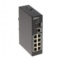 Dahua PFS3110-8T Switch industriel 8 Ports + 1 Port SFP + 1 Port Uplink Base-T 1000Mbps sans gestion L2 Rail DIN