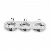 V-TAC VT-784RD Portafaretto rotondo incasso regolabile alluminio bianco per 3 lampade GU10-GU5.3 - SKU 3603