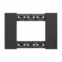 3 modules Bticino Living Now plate black color KA4803KG
