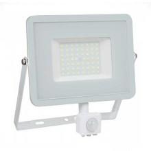 V-TAC PRO VT-50-S 50W led pir sensor floodlight SMD chip samsung warm white 3000K slim white body IP65 - SKU 466