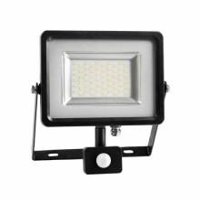 30W Projecteur LED Sensor Corps SMD - Gris & Noir Mod. VT-4830PIR - SKU 5699 - Blanc chaud 3000K