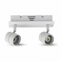 Portafaretto da incasso V-TAC Track Light orientabile metallo bianco per lampadine 2*GU10 VT-789 - SKU 3618