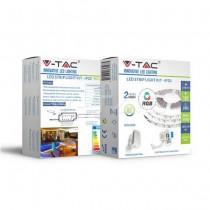 Kit completo striscia LED RGB SMD5050 300LED 1000LM 120° IP20 5MT + Centralina con telecomando e alimentatore 12V 5A EU VT-5050 – SKU 2544
