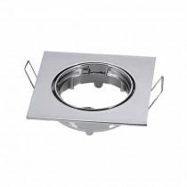 Portafaretto incasso alluminio Quadrato Cromato regolabile GU10