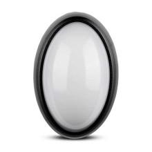 V-TAC VT-8010 12W LED dôme ovale complet plafonnier blanc chaud 3000K corps noir IP54 - sku 1350