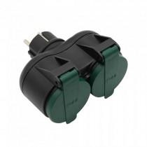 V-TAC VT-1102-2 outdoor socket 2 ways adapter 16A EU standard IP44 black+green - SKU 8812