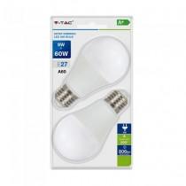 V-TAC VT-2129 Blister pack 2pcs 9W led smd E27 A60 warm white 2700K - 3Step Dimming SKU 7288