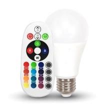 V-TAC SMART VT-2229 9W LED bulb E27 A60 RGB+W 3000K with RF remote control - sku 2766