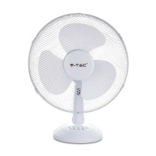 "V-TAC VT-4017-3 40W 16"" Desk Fan with knock-down 3-Blades Oscillation function white body IP20 - sku 7925"