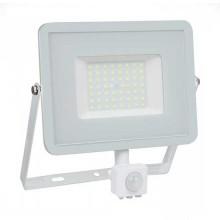 V-TAC PRO VT-50-S 50W led pir sensor floodlight SMD chip samsung cold white 6400K slim white body IP65 - SKU 468