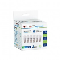 KIT Super Saver Pack V-TAC VT-2256 6PCS/PACK Ampoule LED Mini Globe G45 5,5W E27 blanc neutre 4000K - sku 2731