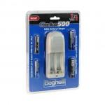 Kit caricatore elettronico e batterie ricaricabili pack 2pcs AA 1500mAh + 2pcs AAA 800mAh Beghelli Carica500