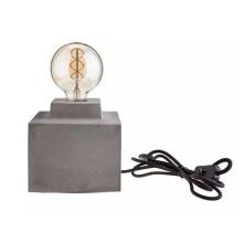 V-TAC VT-7160 Lampada da tavolo corpo grigio chiaro in calcestruzzo quadrato con portalampada per lampadine E27 - sku 3851