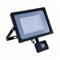V-TAC PRO VT-30-S 30W led pir sensor floodlight SMD chip samsung cold white 6400K slim black body IP65 - SKU 462