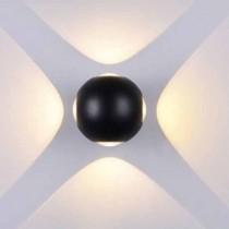 V-TAC VT-834 Lampada LED 4W da parete forma sferica nero wall light bianco caldo 3000K IP65 - SKU 8553