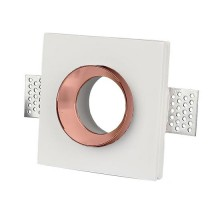 V-TAC VT-866 GU10-GU5.3 housing square recessed white gypsum with metal rose gold finish for Spotlights - sku 3150
