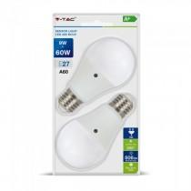 V-Tac VT-2109 Blister pack 2pcs ampoule LED 9W E27 A60 blanc froid 6400K capteur de lumière - SKU 7287