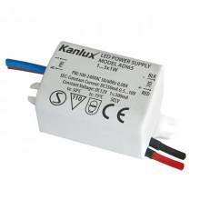 Alimentation à LED Max 3W 0.04A IP20 Kanlux ADI 350 1x3W Cod.01440