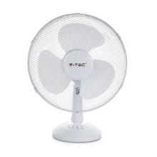 "V-TAC VT-4012-3 40W 12"" Desk Fan with knock-down 3-Blades Oscillation function white body IP20 - sku 7924"