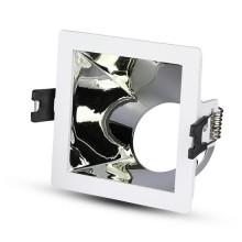 V-TAC VT-875 Portafaretto incasso quadrato bianco con interno inclinato cromato per lampade GU10-GU5.3 - SKU 3168