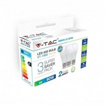 KIT Super Saver Pack V-TAC 3PCS/PACK Lampadine LED SMD A60 9W E27 VT-1900 - SKU 7240 bianco caldo 2700K