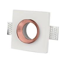 V-TAC VT-866 plafond carré gypse blanc encastré avec finition en métal or rose pour led GU10-GU5.3 - SKU 3150