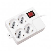 V-TAC Power Strip 4 Schuko Outlet 10/16A 3500W 1,5mt cable on/off switch Overload Protector - sku 8748