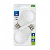 V-TAC VT-2129 Duo blister pack lampadine led smd 9W E27 A60 bianco caldo 2700K - 3Step Dimming SKU 7288