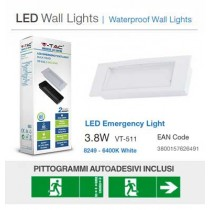Lampada emergenza LED V-TAC Anti Black-out  3.8W 110LM IP20 con Box incasso VT-511 – SKU 8249 TIPO BEGHELLI 1499