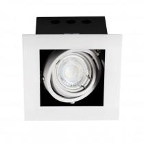Portafaretto incasso orientabile 30° Quadrato GU10  max 35W IP20 Bianco - Kanlux MERIL DLP-50-W Cod.26480