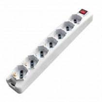 V-TAC Multipresa ciabatta 7 posti bipasso/schuko presa tedesca 10/16A cavo 1,5mt interruttore luminoso - sku 8714