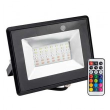 V-TAC VT-4932 30W LED Floodlight RGB Multicolor SMD with IR remote control body black slim IP65 - sku 5995