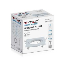 V-TAC VT-817 Fitting adjustable square white metal for GU10-GU5.3 spotlights box 2pcs/pack - sku 8941