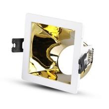 V-TAC VT-875 Portafaretto incasso quadrato bianco con interno inclinato color oro per lampade GU10-GU5.3 - SKU 3166