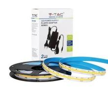 V-TAC Kit striscia LED 24V COB 5M monocolore bianco freddo 6400K CRI>90 IP20 + alimentatore - SKU 2681