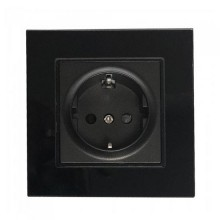 V-TAC VT-5711 16A 250V single EU sockets standard german plastic and glass black IP20 - sku 8399