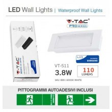 V-TAC PRO VT-511S Lampe LED chip samsung 3.8W avec boîtier encastrable/plafond SE SA TYPE BEGHELLI 1499 - sku 899