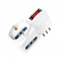 V-TAC Triple multi-plug outlet 1 Schuko 10/16A + 2 plugs 10/16A Italian standard on/off switch Overload Protector - sku 8743