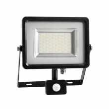 30W LED Fluter Sensor SMD 100° - Grau & Schwarz Körper Mod. VT-4830PIR - SKU 5699 - Warmweiß 3000K