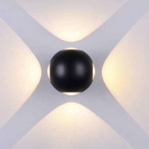 V-TAC VT-834 4W LED wall light day white 4000K aluminium black round body IP65 - SKU 8554