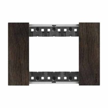 3 modules Bticino Living Now plate wood walnut color KA4803LG
